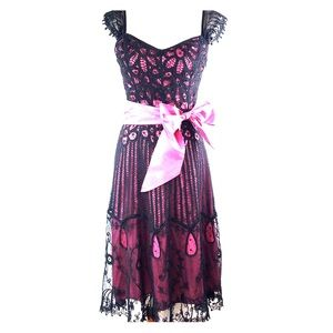 Betsey Johnson Dress with Crochet & Lace Overlay